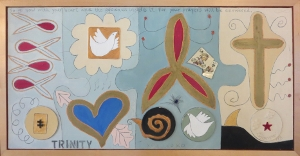 "Karen Tashkovski, Trinity, 18"" x 36"", 1997, oil & collage, $675"