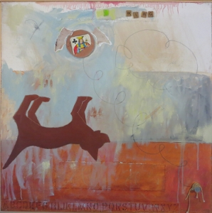 "Karen Tashkovski, Wing, 30"" x 30"", 2000, oil, latex & collage, $675"