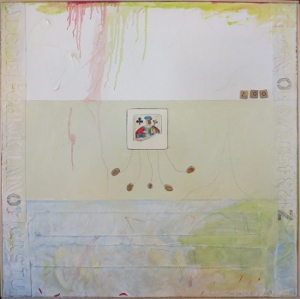 "Karen Tashkovski, Zoo, 30"" x 30"", 2000, oil, latex & collage, $675"