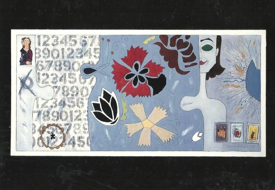 "Karen Tashkovski, Devices, 1998, 24"" x 48"", oil & collage, collection of Sophie Tashkovski"