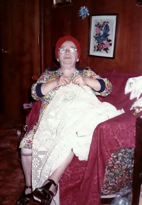 My grandmother with one of her award winning crochet bedspreads.