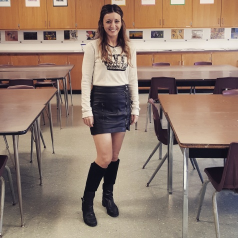 BCBG Max Azria sweater, Trina Turk leather skirt, Etienne Aigner boots