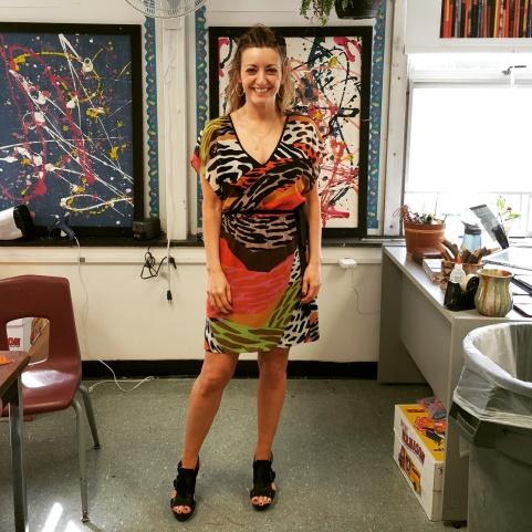 Trina Turk dress, Calvin Klein wedge sandals