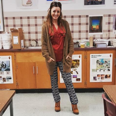 Free People cardigan, Trina Turk top and pants, BCBG Generations booties