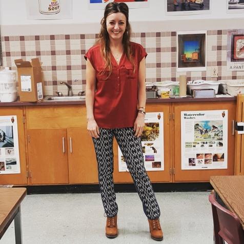 Trina Turk top and pants, BCBG Generations booties