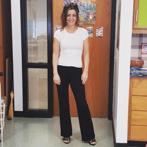BCBG Max Azria top, INC pants, BCBG Generations sandals