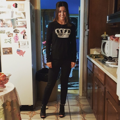 BCBG Max Azria sweater and pants, BCBG Generation sandals