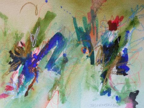 "Oasis, 7"" x 10"", watercolor, 2000, $50"