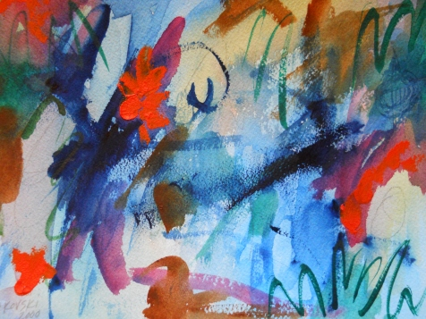 "Chaos, 7"" x 10"", watercolor, 2000, $50"