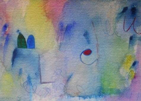 """Bleu, 7"""" x 10"""", watercolor, 1999, $50"""