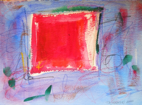 """Sound Stage, 7"""" x 10"""", watercolor, 2000, $50"""