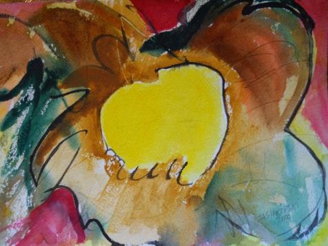 """Solar Vortex, 7"""" x 10"""", watercolor, 2000, $50"""