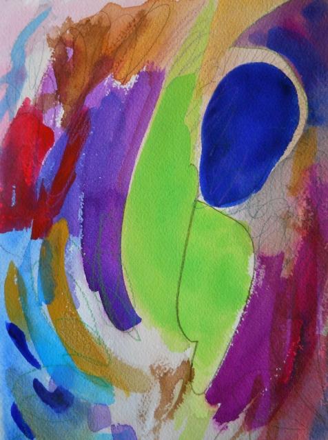 """Swim, 10"""" x 7"""", watercolor, 2002, $50"""