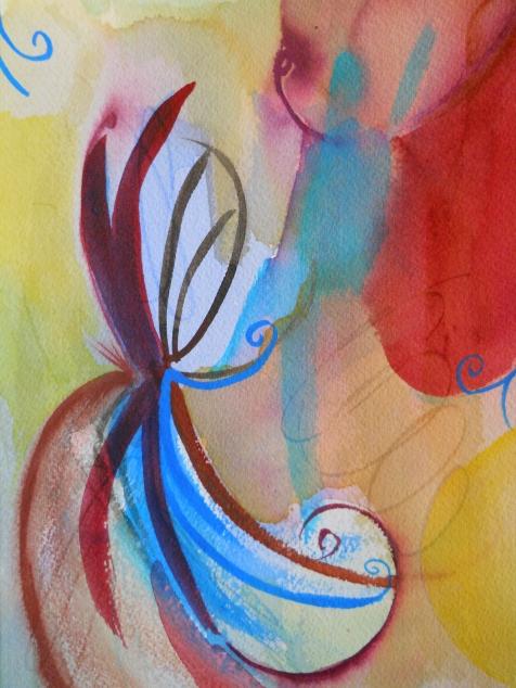 """Echo, 10"""" x 7"""", watercolor, 2001, $50"""
