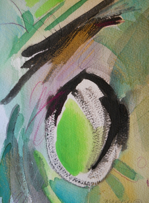 """Wormhole, 10"""" x 7"""", watercolor, 2001, $50"""