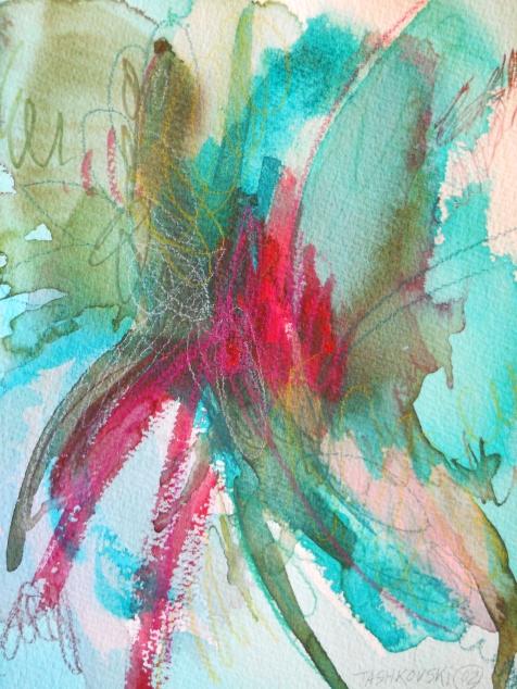 "Explode, 10"" x 7"", watercolor, 2002, $50"