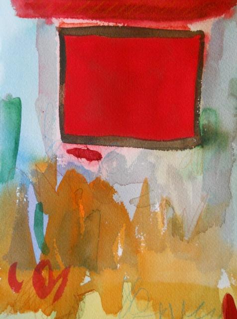"""Escape, 10"""" x 7"""", watercolor, 2002, $50"""