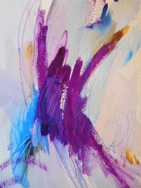 """Violet Outburst, 10"""" x 7"""", watercolor, 2001, $50"""