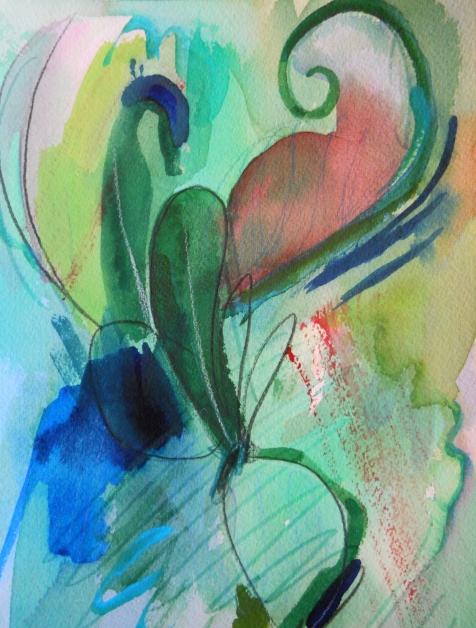 """Gossip, 10"""" x 7"""", watercolor, 2001, $50"""