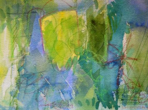 "Maze, 7"" x 10"", watercolor, 2000, $50"