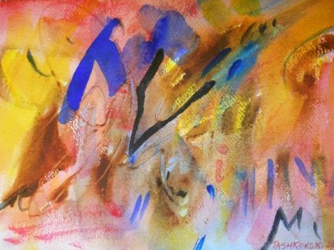 """Atmosphere, 7"""" x 10"""", watercolor, 2000, $50"""