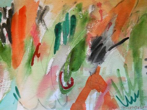 "Gusto, 7"" x 10"", watercolor, 2000, $50"
