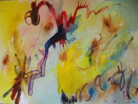 """Sunlight, 7"""" x 10"""", watercolor, 2000, $50"""