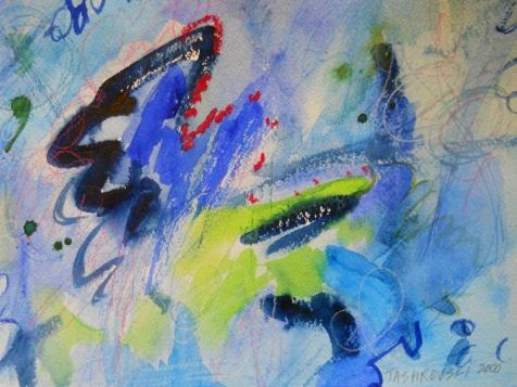 """Mandala Rising, 7"""" x 10"""", watercolor, 2000, $50"""