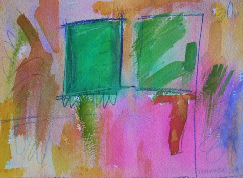 "Box 14, 9"" x 12"", watercolor, 2001, $75"