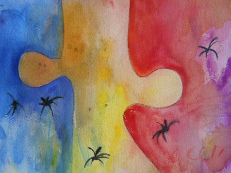 "Puzzle 2, 9"" x 12"", watercolor, 1999, $75"