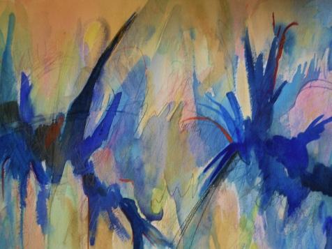 """Blue Mandala, 18"""" x 24"""", watercolor, 2001, $200"""