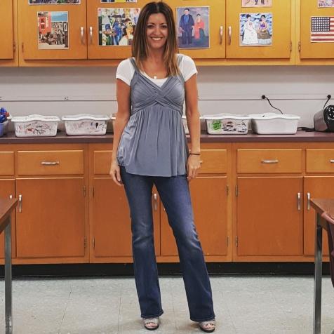Bailey 44 top, BCBGMaxAzria T-shirt, 7 For All Mankind jeans, BCBGGeneration sandals