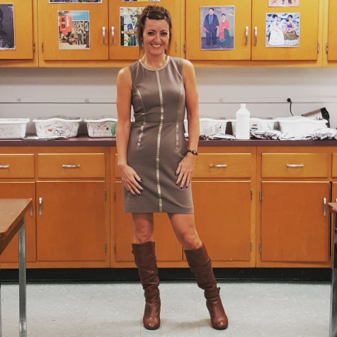 Trina Turk dress, Steve Madden boots