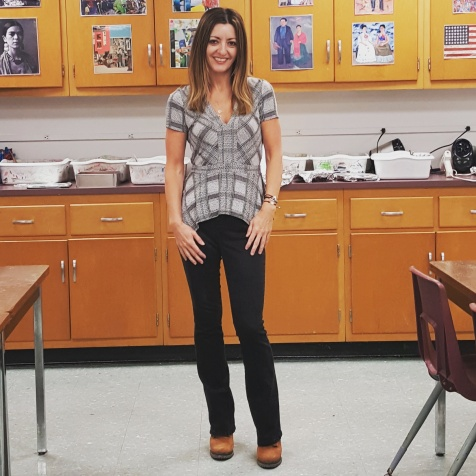 BCBGMaxAzria top, Calvin Klein jeans, BGBGGeneration booties