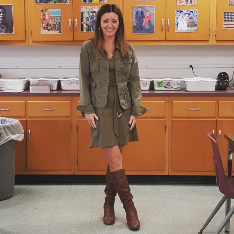 Lucky Brand jacket, Banana Republic dress, Steve Madden boots