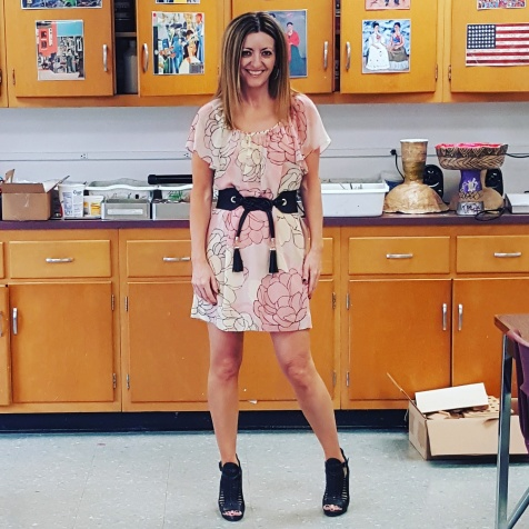 BCBG Max Azria dress and belt, BCBGeneration sandals