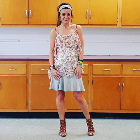 Bailey 44 top and skirt, Michelle DaRin jewelry bracelets, BCBGeneration sandals