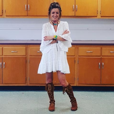 BCBG Max Azria dress, Michelle DaRin jewelry, Minnetonka boots
